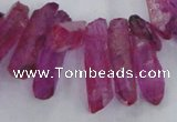 CTD1700 Top drilled 8*15mm - 11*35mm sticks dyed white crystal beads