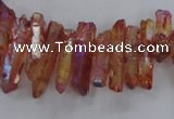 CTD1716 Top drilled 5*10mm - 6*30mm sticks plated white crystal beads