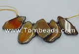 CTD1756 Top drilled 20*40mm - 35*55mm freeform agate slab beads