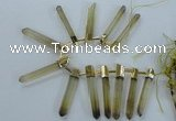 CTD1967 Top drilled 6*50mm - 10*60mm sticks lemon quartz beads