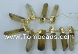 CTD1969 Top drilled 10*50mm - 15*60mm sticks lemon quartz beads