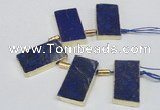 CTD1980 Top drilled 20*35mm - 20*45mm freeform lapis lazuli beads