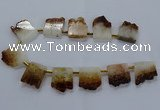 CTD1994 Top drilled 25*30mm - 30*35mm freeform druzy citrine beads