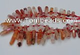 CTD2112 Top drilled 10*25mm - 12*45mm sticks pink quartz beads