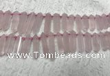CTD2114 Top drilled 10*25mm - 12*45mm sticks rose quartz beads