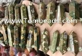 CTD2246 Top drilled 10*22mm - 12*45mm faceted nuggets rhyolite beads