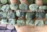 CTD2283 Top drilled 15*20mm - 17*23mm freeform green rutilated quartz beads