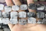 CTD2284 Top drilled 15*20mm - 17*23mm freeform black rutilated quartz beads
