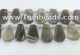 CTD2334 Top drilled 16*18mm - 20*30mm faceted freeform moonstone beads