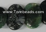 CTD25 Top drilled 20*30mm oval moss agate beads wholesale