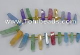 CTD2518 Top drilled 8*25mm - 11*50mm sticks druzy agate beads
