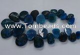 CTD2552 Top drilled 18*25mm - 30*40mm freeform agate gemstone beads