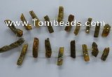 CTD2578 Top drilled 10*30mm - 10*50mm sticks plated druzy agate beads