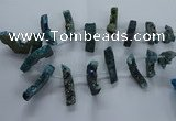CTD2581 Top drilled 10*30mm - 10*50mm sticks plated druzy agate beads