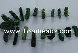 CTD2582 Top drilled 10*30mm - 10*50mm sticks plated druzy agate beads