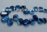 CTD2588 Top drilled 20*25mm - 30*40mm faceted freeform agate beads