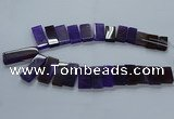 CTD2609 Top drilled 14*27mm - 16*42mm rectangle agate beads