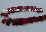 CTD2610 Top drilled 14*27mm - 16*42mm rectangle agate beads