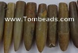 CTD2676 Top drilled 8*30mm - 12*50mm bullet agate fossil beads