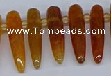 CTD2724 Top drilled 8*35mm bullet agate gemstone beads wholesale