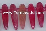 CTD2726 Top drilled 8*35mm bullet agate gemstone beads wholesale