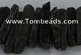 CTD2765 Top drilled 6*20mm - 8*55mm sticks green kyanite beads