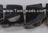 CTD2769 Top drilled 25*30mm - 35*40mm freeform line agate beads