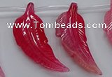 CTD2774 Top drilled 20*45mm - 25*55mm carved leaf agate beads