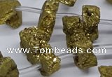 CTD2843 Top drilled 15*20mm - 18*40mm freeform plated druzy agate beads