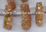 CTD2844 Top drilled 15*20mm - 18*40mm freeform plated druzy agate beads