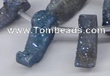 CTD2845 Top drilled 15*20mm - 18*40mm freeform plated druzy agate beads