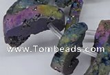 CTD2846 Top drilled 15*20mm - 18*40mm freeform plated druzy agate beads