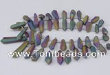 CTD2855 Top drilled 10*20mm - 15*50mm sticks plated quartz beads