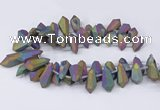 CTD2865 Top drilled 15*20mm - 22*50mm sticks plated quartz beads