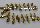 CTD2874 Top drilled 10*20mm - 15*50mm sticks plated quartz beads