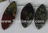 CTD33 Top drilled 10*24mm – 17*40mm marquise dragon blood jasper beads