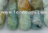 CTD3528 Top drilled 10*15mm - 15*25mm faceted nuggets amazonite beads