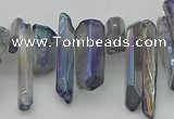 CTD3551 Top drilled 10*20mm - 12*30mm sticks plated quartz beads
