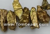 CTD3556 Top drilled 10*20mm - 12*30mm sticks plated quartz beads