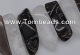 CTD356 10*25mm - 10*50mm wand white crystal & smoky quartz beads