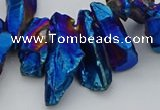 CTD3561 Top drilled 10*20mm - 12*30mm sticks plated quartz beads