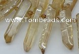 CTD3576 Top drilled 6*20mm - 8*45mm sticks plated white crystal beads