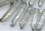 CTD3577 Top drilled 6*20mm - 8*45mm sticks plated white crystal beads