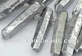 CTD3579 Top drilled 6*20mm - 8*45mm sticks plated white crystal beads