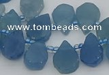 CTD3629 Top drilled 12*15mm - 15*18mm flat teardrop aquamarine beads