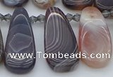CTD3647 Top drilled 10*20mm - 15*45mm freeform matte botswana agate beads