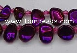 CTD3674 Top drilled 5*8mm - 10*14mm freeform plated white crystal beads
