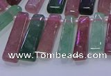 CTD3691 Top drilled 6*16mm - 8*40mm sticks mixed strawberry quartz beads