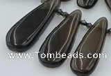 CTD3703 Top drilled 10*20mm - 15*45mm freeform ice black obsidian beads