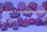 CTD3857 Top drilled 8*10mm - 10*12mm freeform pink opal beads